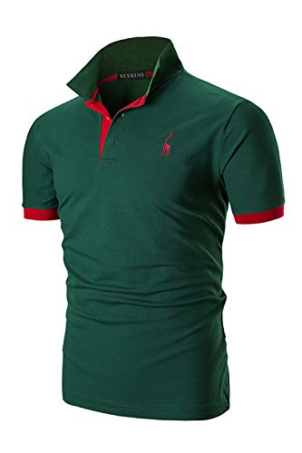 ycueust uomo cotone giraffa ricamo manica corta polo tennis golf casual t-shirt (5xl, verde)