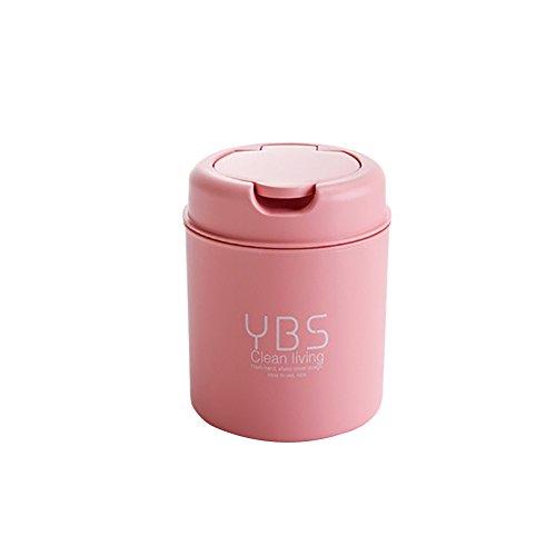 Huhuswwbin Aufbewahrungsbehälter Premium Desktop Mini Mülleimer Küche Bad Wohnzimmer Home Flip Deckel Mülleimer - Beige Englisch Rose - Kaffee-tisch-bücher Pink