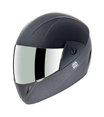 Gliders. ABS Shell Jazz D2 Full Face Helmet (580 mm, Matt Black with Gun Grey Decor, Rainbow Visor)