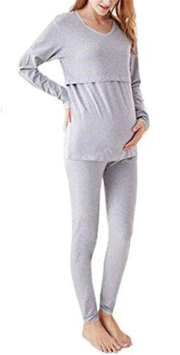 lafanzug Damen Gemütlich Lange Ärmel Still-Pyjama Baumwolle Beiläufige Sleepwear Softy Umstands Schlafanzug Diskretes Stillen Schlafanzüge ()