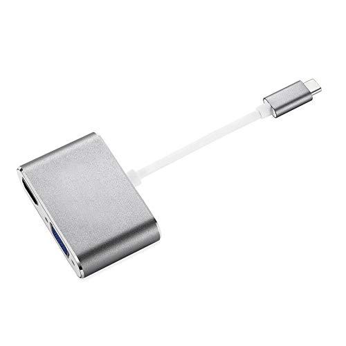 USB-C zu HDMI VGA Adapter, 2 in 1 USB 3.1 Typ C zu VGA HDMI 4K UHD Konverter (Grau)