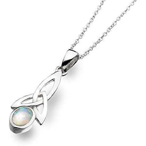 Sea Gems Collana in argento e opale celtico Trinity catena regolabile 40,6- 45,7cm 4150SO