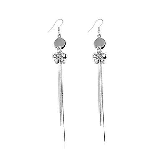 ZhongDa Ohrstecker, S925 Silber Lange Fringe geometrische Ohrringe, stilvolle Persönlichkeit Ohrringe, Länge 70mm, Gewicht 3.31g