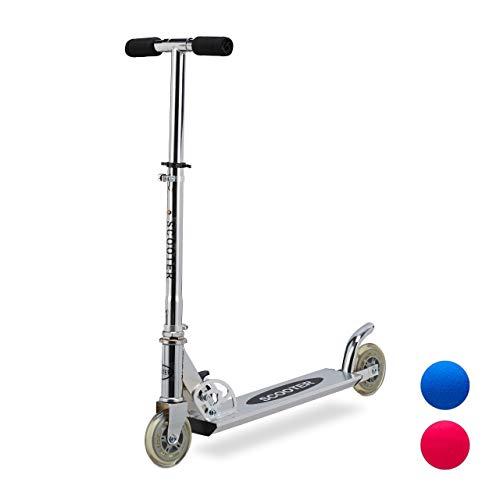 Relaxdays Scooter für Kinder, klappbarer Tretroller, mit Bremse, Alu, höhenverstellbar bis 77 cm, 2 Rollen 95 mm, silber