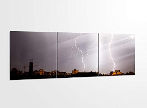 Acrylglasbilder 3 Teilig 150x50cm Blitz Gewitter Sturm Regen Wolken_ Acrylbild Bilder Acrylglas Wand Bild Kunstdruck 14?5349, Acrylglas Größe 6:BxH Gesamt 150cmx50cm