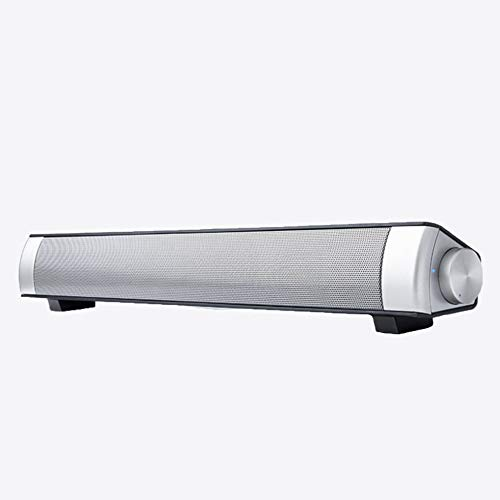 CHOULI USB Chargeable Soundbar Subwoofer Stereo Speaker for Computer Black Silver Gray -