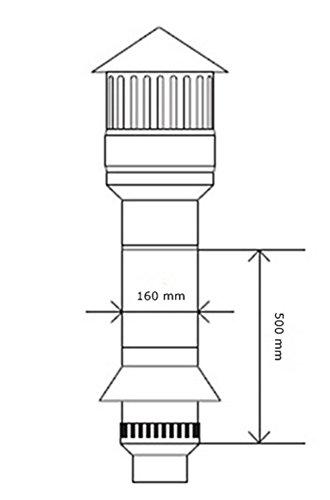 Purge Système d'aération de toit DN-160–500mm–9–3013–500–41–01–03+ bride
