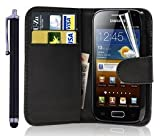 discount. World Flip Wallet Leather Case with Screen Protector and Stylus for Samsung Galaxy Ace 2 GT-I8160 - noir