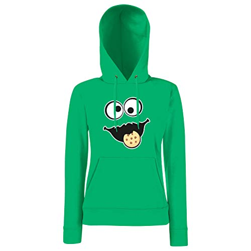 Shirt-Panda Keks Monster Damen Hoodie Gruppen Kostüm Karneval Fasching Verkleidung Party JGA Kelly Green XL (Monster Green Kostüm)