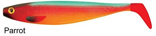 Fox Rage Pro Shad Firetail II Gummifische Köder für Hecht, Zander, Barsch und Wels, Hechtköder, Zanderköder, Welsköder, Barschköder, Gummifisch, Gummiköder, Angelköder , Farbe:Parrot;Länge:14cm