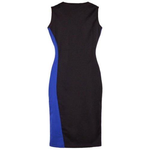 Damen Spleiss-Farbe Rundhals aermellos Etuikleid Blau