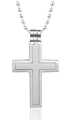 Gnzoe Schmuck, Edelstahl Detachable Kreuz Kruzifix Rood CZ Silber Anhänger Halskette für Damen (Amethyst Sterling Silber Kruzifix)