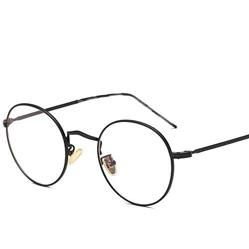 Gläser Runde Sonnenbrille Runde Sonnenbrille Runde Mode Runde Brille UV Cut Leichter Kreuz & Brillenetui Brillen (Color : Schwarz, Size : Kostenlos)