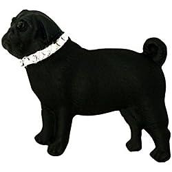 Pin broche de Pug negro esmalte y cristal de Swarovski
