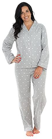 PajamaMania Women's Sleepwear Flannel Pyjamas PJ Set Grey Polka Dots- Sml
