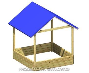"""Sandkasten """"Moritz"""" mit blauem PE-Dach, Bausatz mit 134x134x162cm - Kinderspielgeräte für Garten, Spielgeräte für Kinder, Spielturm, Spieltürme"""