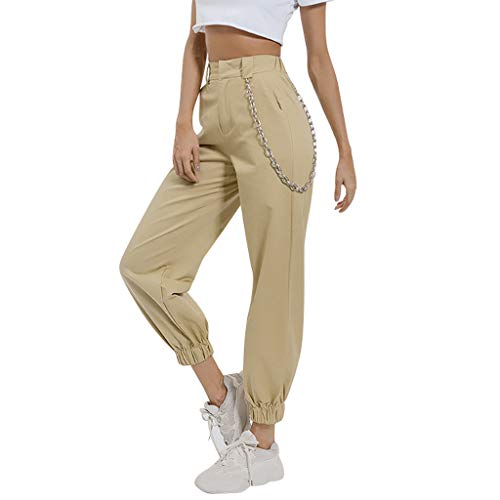Epig Ladies Pants Fashion Damen Pocket Beam Foot High Waist Freizeithose Loose Tooling Pants -