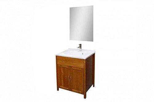 #SAM® Design Badmöbel-Set 2tlg. Venedig in honig Bad-Set aus lackiertem Kiefer-Holz, massiv, im Landhausstil, viel Stauraum, bestehend aus Waschplatzunterschrank und Spiegel#