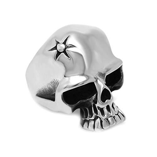 YBMEN Männer Edelstahl Ring Vintage Retro Klassiker Schädel Kopf Individualität Sun Rays Design Band Silber
