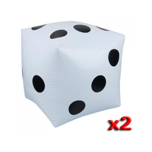 2pcs Dados Inflables Blancos Grande Juguete Para Piscina Fiesta