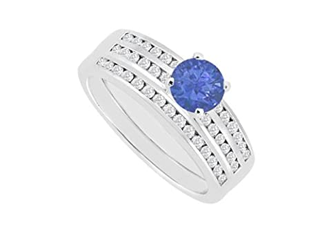 Sapphire Engagement Ring with Wedding Band Diamonds Channel set in 14K White Gold 1.15 Carat