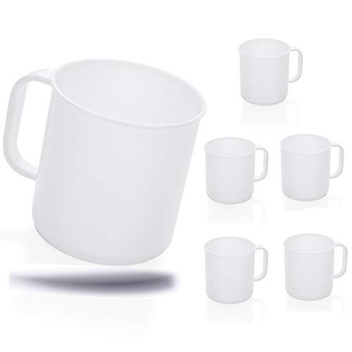 Kerafactum® - 6 Set Trinkbecher Tasse mit Henkel Kaffeebecher für Camping Kantine Bootsausrüstung Caravan Spülmaschinenfest 0,3 Ltr. - Coffee Mug