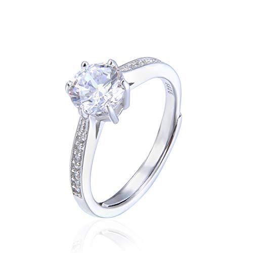 0133f45b8e9c98 VJUKUBWINE Anello in cristallo bianco argento con cristallo Swarovski  Elements Regalo di San Valentino per matrimonio