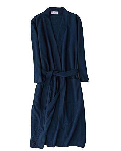 Donna uomo pigiama waffel da accappatoio per vestono pigiama abito tutte collare v tipo cialda vestiti donne pigiama accappatoi con cintura marina militare x-large