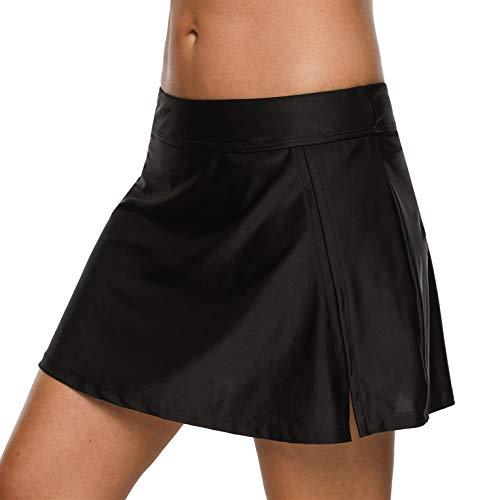 BeautyIn Frauen Badebekleidung Badeanzug Rock gebaut in Bikini Bottom Baderock Schwimmrock Bikini mit Hotpants, 2 schwarz, L