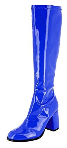 Damen Retro Lackstiefel - Royalblau Gr. 37 - Tolle Schuhe zur 70er 80er Jahre Disco Hippie Mottoparty (70er Jahre Stiefel Und Schuhe)