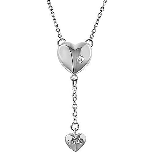 ofertas para el dia de la madre Fashionvictime - Mujer Collar - Coeur - Argento Rodiado - Circonita - Joyeria -
