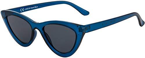 La Optica B.L.M. UV400 CAT 3 CE Damen Sonnenbrille Cateye Sonnenbrille - Einzelpack Glänzend Dunkelblau (Gläser: Grau)_LO25 B-Dark Blue