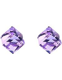 Yuxinjewelry Agujero sin orejas Arete Colorear Diamante Pendientes Imán Joyeria
