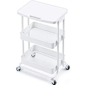 Kingrack rollwagen, küchenwagen 3 etagen rollwagen metall, allzweckwagen servierwagen mit rollen tischplatte feststellrädern, rollwagen weiß für Küche bad kosmetik, Laptop Schreibtisch für Büro Haus