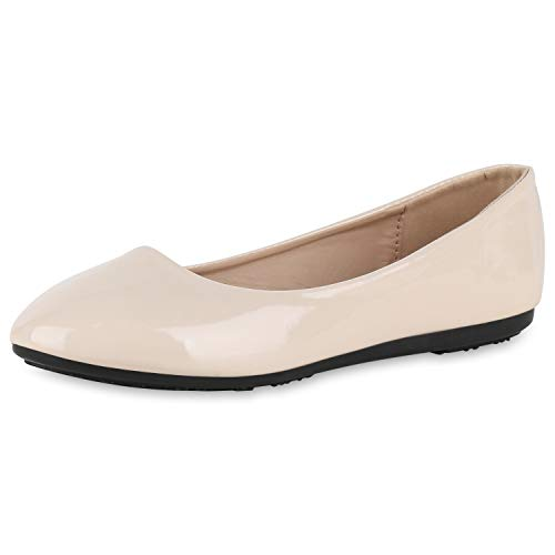 Creme Ballerinas (SCARPE VITA Damen Klassische Ballerinas Elegante Slipper Abendschuhe Flats 175355 Creme Lack 39)