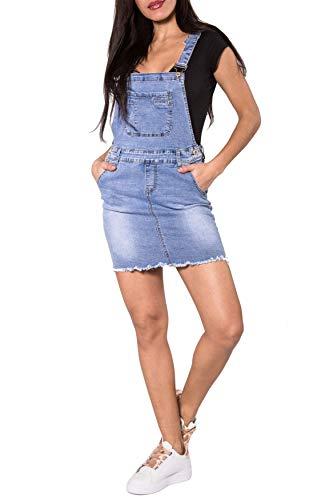 Damen Latz Jeansrock   Latzkleid mit Hosenträger   Rock Jeanskleid   Denim Outfit, Farben:Blau-2, Größe Damen:36 / S