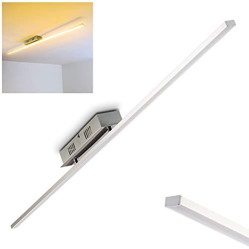 LED Deckenleuchte Casale – Länglicher Deckenstrahler aus Metall in Chrom mit Kunststoff-Schirm in Weiß – Wohnzimmer Lampe 3000 Kelvin warmweißes Licht – 1140 Lumen – inklusive LED Leuchtmittel
