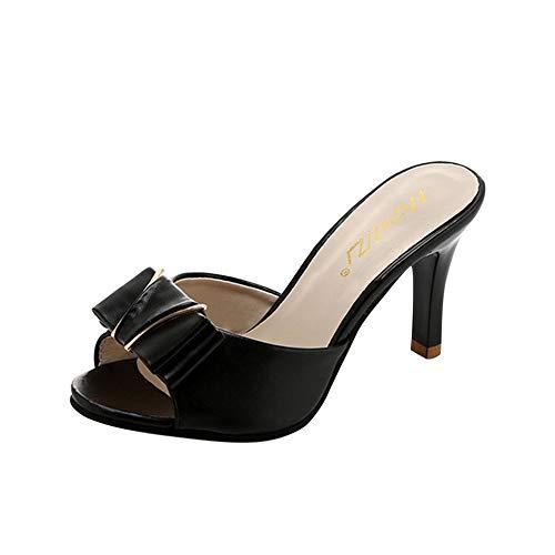 Sfit Damen Sommer Sandalen Hausschuhe mit Absatz Sommerschuhe Offene High Heels Dianetten Hochhackige Slipper (39, Schwarz mit Schleife) Heel Mule