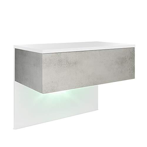 Vladon Nachttisch Nachtkonsole Sleep, Korpus in Weiß matt/Front und Seiten in Beton Oxid Optik, inkl. LED Beleuchtung