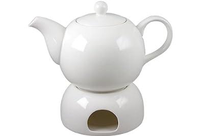 Belle blanches théière avec chauffe-théière en porcelaine avec chauffe-plat 1 l (bL24)
