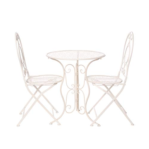 Set tavolo con 2 sedie pieghevoli, in ferro