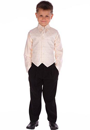 Poshtotz 4-teiliger Anzug für Jungen, Schwarz / Creme - Schwarz - Black and Cream -8 Jahre (Gefütterter Leicht Anzug)