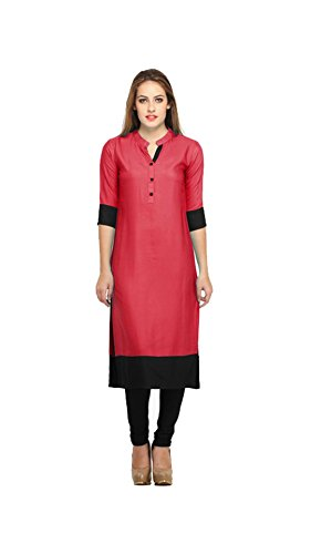 Kurta (Vipul Women's Branded Pink & Black Casual Wear Cotton Free Size Kurti (Best Gift For Mummy Mom Wife Girl Friend, Offers and Sale Discount) )  available at amazon for Rs.177