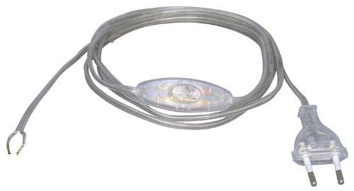 Kopp 140310090 - Cavo europeo con interruttore intermedio, 2 m, trasparente