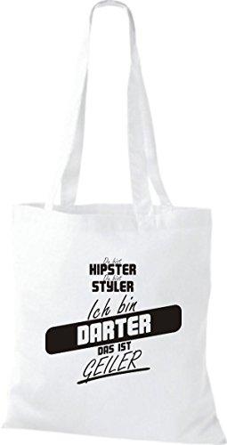 Shirtstown Stoffbeutel du bist hipster du bist styler ich bin Darter das ist geiler weiss