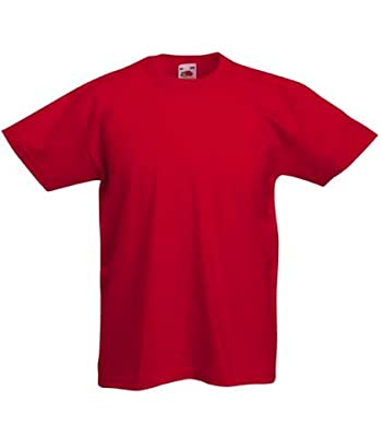Fruit of the Loom Childrens T Shirt in Red Size 9-11 (SS6B)