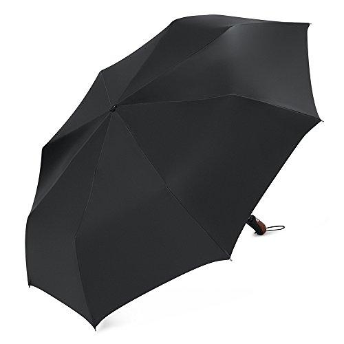 Plemo Regenschirm, Auf-Zu Automatik Taschenschirm aus Satin-Stoff, Glänzend, Groß mit 115 cm Durchmesser, Sturmfest, Schwarz