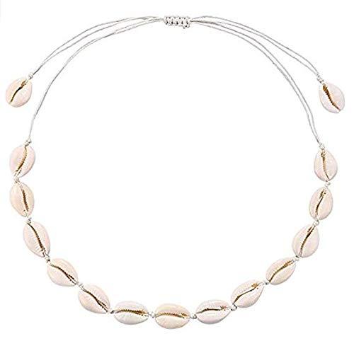Jellbaby Weiße Linie Muschelkette, weiße handgemachte flache Knoten Halskette, natürliche Muschelkette