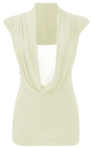 Damen Übergröße Jersey Stretch Rollkragen Drapiert Front Zwillings T-shirt  Damen Weste Oberteil 16-