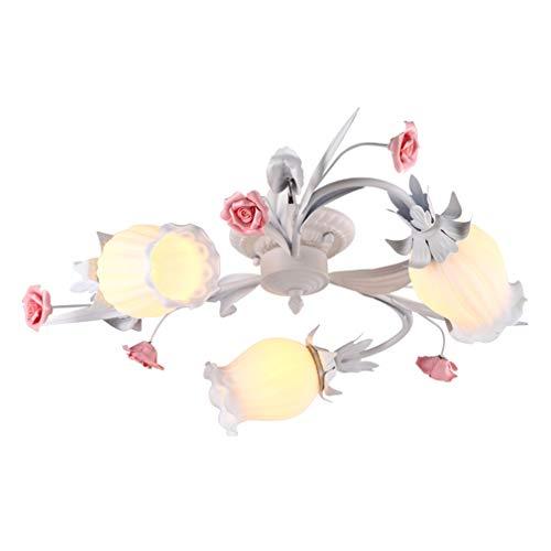 e Blume Design Deckenleuchten Persönlichkeit Kreative Metall Keramik Deckenlampe Wärme Romantische Lichter Prinzessin Mädchen Schlafzimmer Beleuchtung Deckenleuchte ()